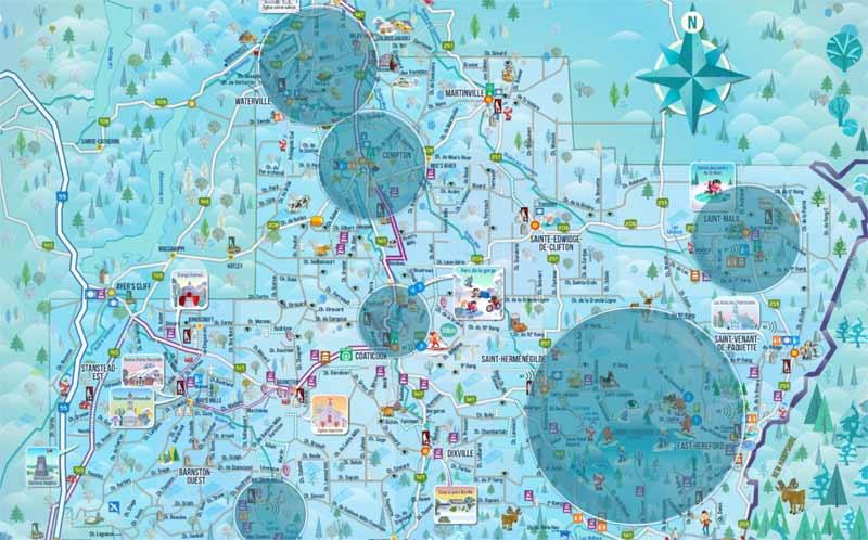 Carte interactive de la région de Coaticook