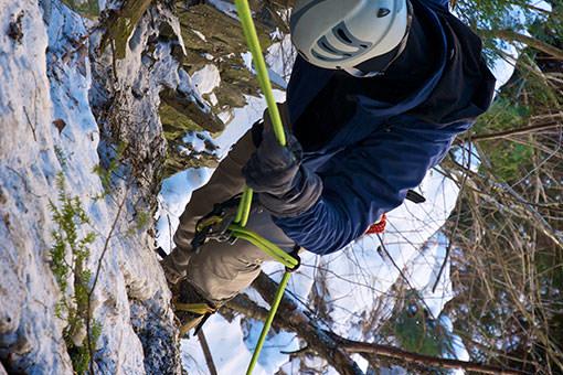 Escalade en hiver dans la région de Coaticook